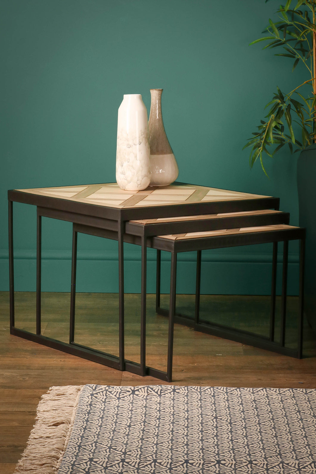 Nest of 3 Side Tables Occasional Coffee Tables Geometric Pattern Industrial Style - Whaleycorn