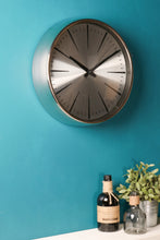 Silver Chrome Retro Wall Clock Metal Glass Polished Battery Operated Vintage - Whaleycorn