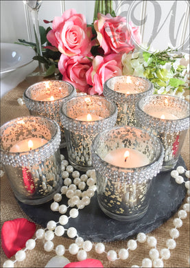 Vintage Style Set of Six Glass Silver Votive Candle Holders with Gems - Whaleycorn