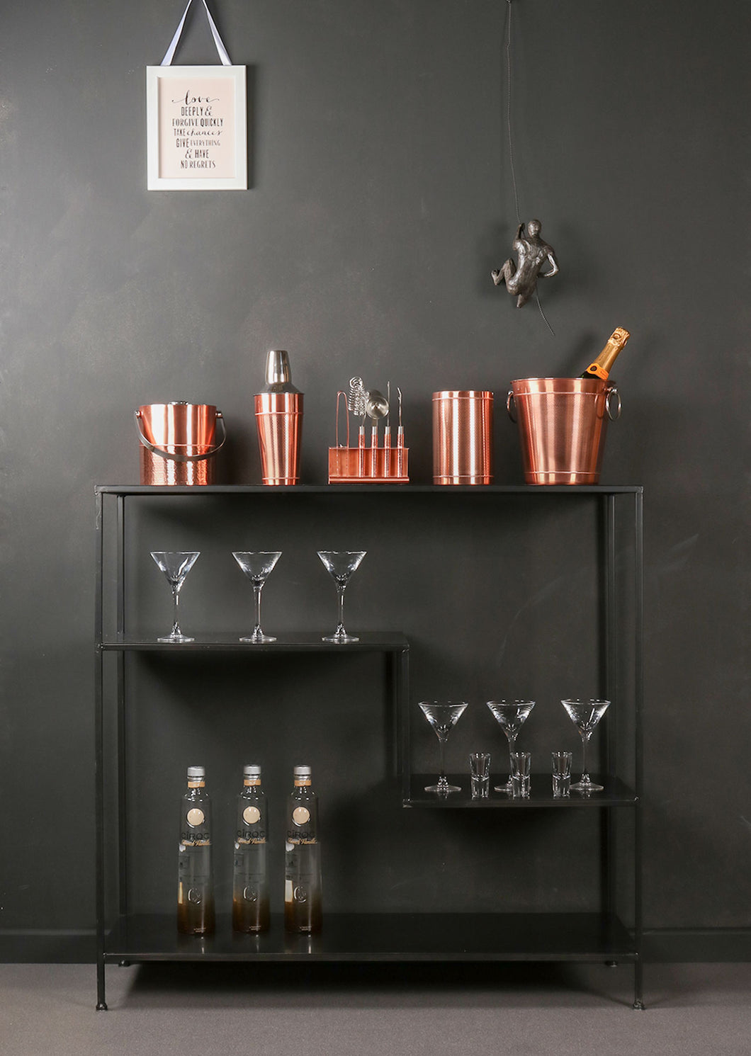 Complete Copper set of Cocktail Making Kit and Accessories Bottle Cooler and Champagne Bucket and Cocktail Shaker - Whaleycorn