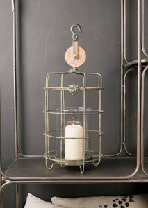 Small Iron Cage Lantern Candle Holder Industrial Style with Hanging Hook Vintage - Whaleycorn