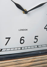 Large London Carriage Clock Wood Base Metal Frame Standing Vintage Mantel - Whaleycorn
