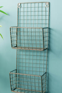 Retro Industrial Style Metal Wire Wall Mounted Magazine Rack File Holder Storage - Whaleycorn