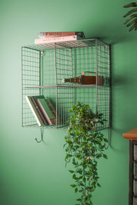 Industrial Style Wire Shelving Unit with 4 Shelves and 3 Hooks - Whaleycorn