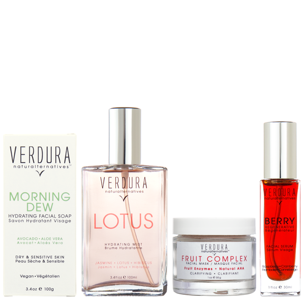 "ANTI-AGING REGIMEN | 100% natural-vegan | VERDURA naturalternatives | Our ""Anti-Aging Regimen Kit"" includes four of our high-end anti-aging products in full size to help you keep your skin young. INCLUDES FULL SIZE: MORNING DEW HYDRATING FACIAL SOAP, LOTUS HYDRATING MIST ,FRUIT COMPLEX FACIAL MASK and BERRY FACIAL SERUM. 100% natural & vegan. $189.00"