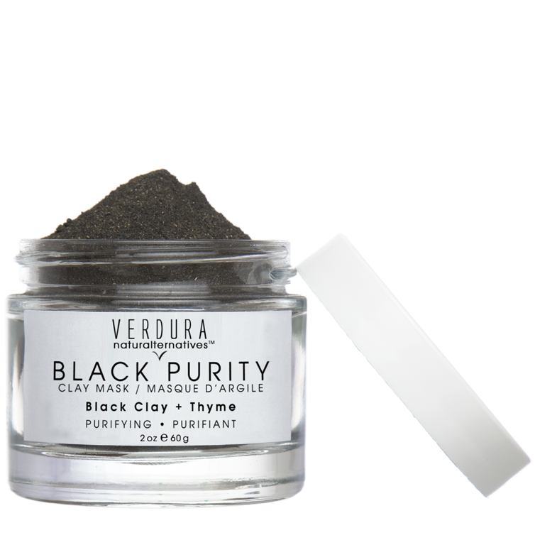 BLACK PURITY CLAY MASK |All Natural |Vegan | VERDURA naturaltternaives | Our Black Purity Mask is formulated with black clay, bentonite clay and an antiseptic herbal blend to help fight all common skin concerns. An exceptionally detoxifying and pore decongesting blend, good for all skin types but especially suited for oily and blemish-prone skin.