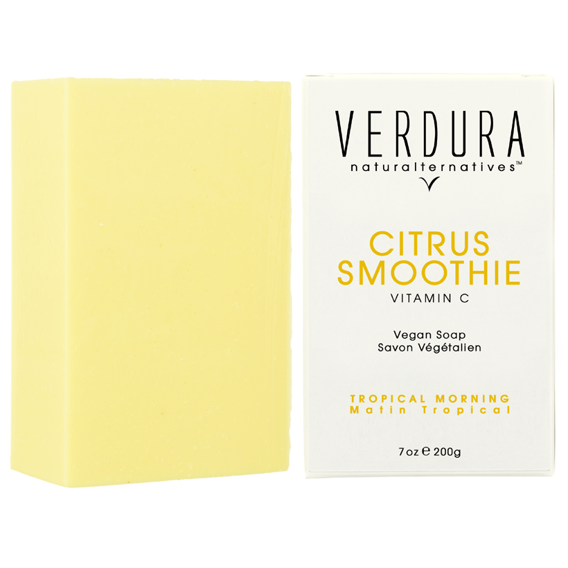 "CITRUS SMOOTHIE VEGAN SOAP BAR |All natural |VERDURA naturalternatives | Our ""Citrus Smoothie"" soap delivers a creamy lather with a delicious tropical scent of grapefruit, bergamot and orange essential oils. Formulated with coconut oil and conditioned with organic shea butter, this citrus smoothie soap is gentle and perfect to brighten your mornings."