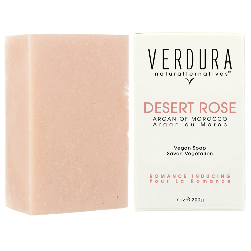 "DESERT ROSE VEGAN SOAP BAR | Eco-Friendly | VERDURA naturalternatives | Our high-end ""Desert Rose"" soap is formulated with luxurious exotic ingredients that deliver a soft creamy lather and is conditioned with moroccan argan oil for its anti-aging and skin moisturising properties. This sophisticated soap with its delicate rose aroma is the perfect addition to a romantic bathing experience."