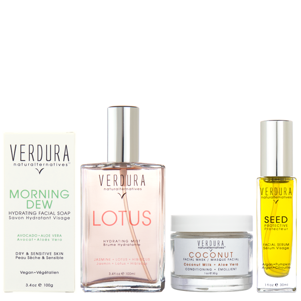 "DRY/SENSITIVE SKIN REGIMEN | Natural-Vegan | VERDURA naturalternatives | Our ""Dry / Sensitive Skin Regimen Kit"" includes four of our high-end hydrating and conditioning products in full sizes to keep your skin supple and hydrated. INCLUDING: MORNING DEW HYDRATING FACIAL SOAP, LOTUS HYDRATING MIST, COCONUT FACIAL MASK and  SEED FACIAL SERUM."