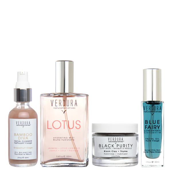 "ACNE / OILY SKIN REGIMEN | 100%natural | VERDURA naturalternatives | Our ""Acne / Oily Skin Regimen Kit"" includes four of our best acne targeting products in full size to help you maintain and keep your skin clear. INCLUDING: BAMBOO DIVA FACIAL CLEANSER, LOTUS HYDRATING MIST, BLACK PURITY CLAY MASK and BLUE FAIRY CONCENTRATE . This Kit is Vegan $196.00"