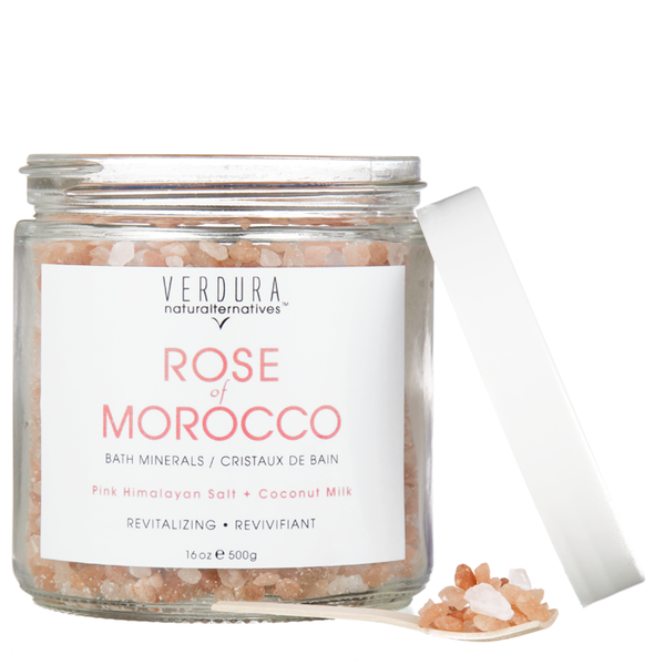 "ROSE OF MOROCCO BATH MINERALS | VERDURA naturalternatives | The most uplifting ""Rose Bath Minerals"" with pink Himalayan rock salt, rose essential oil & coconut milk to soothe the skin, purify the body and mind while improving muscle tensions. This product is 100% natural & vegan, gluten free, No animal testing, No parabens, No artificial fragrances or colorants"