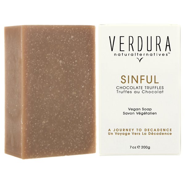 "SINFUL SOAP BAR | 100% natural-vegan | VERDURA naturalternatives | Indulge, brake the forbidden rules with ""Sinful"", the luxury soap that makes being bad a good thing. This chocolate truffle soap is formulated with coconut oil and conditioned with cacao butter. Its decadent aroma comes from pure Venezuelan coffee, French cacao and Bourbon vanilla essential oils. $18.00"