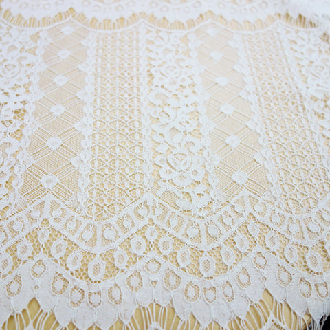 pure white stripe lace with scallop edges