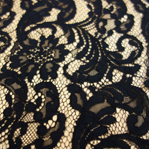 black color floral lace