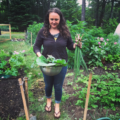 Carly gathering the vegtables for our Maine Lobster Lasagna