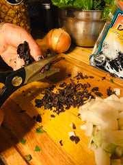 Cutting up Applewood Smoked Dulse