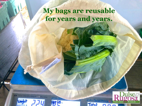 My cloth produce bags are reusable for years and years.