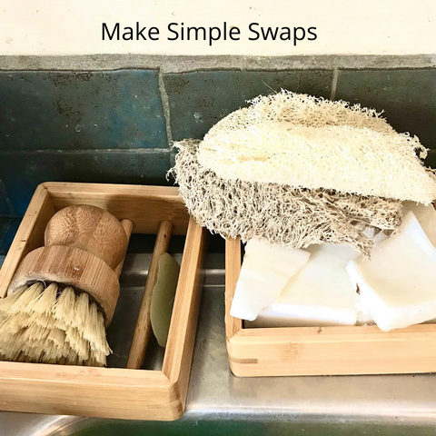 reusable and compostable items by a kitchen sink to help reduce trash