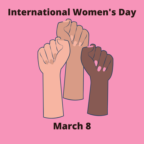 Hands raised to celebrate International Women's Day