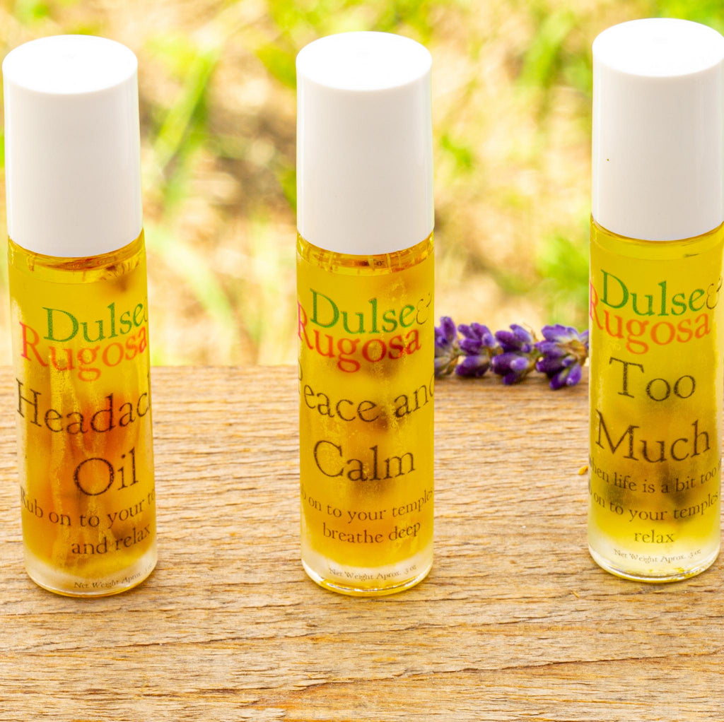 Dulse and Rugosa's Botanical Oils come in three scents: Headache, Peace and Calm, and Too Much.