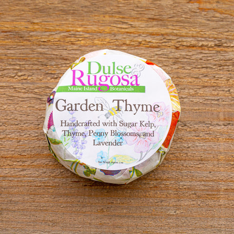 Garden Thyme soap is a gentle blend of thyme, seaweed, and penoy petals.  Its a perfect soap for everyone who loves gardens.