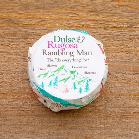 Rambling Man Soap is a hard working do everything soap.  Ligthly scented with tea tree oil and laded with seaweed, it is also sustainably packaged.