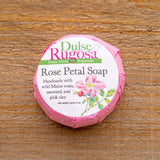 Our Rose Petal Soap is a gentle blend of rose clay, wild Maine rugosa roses, and wild harvested sugar kelp.