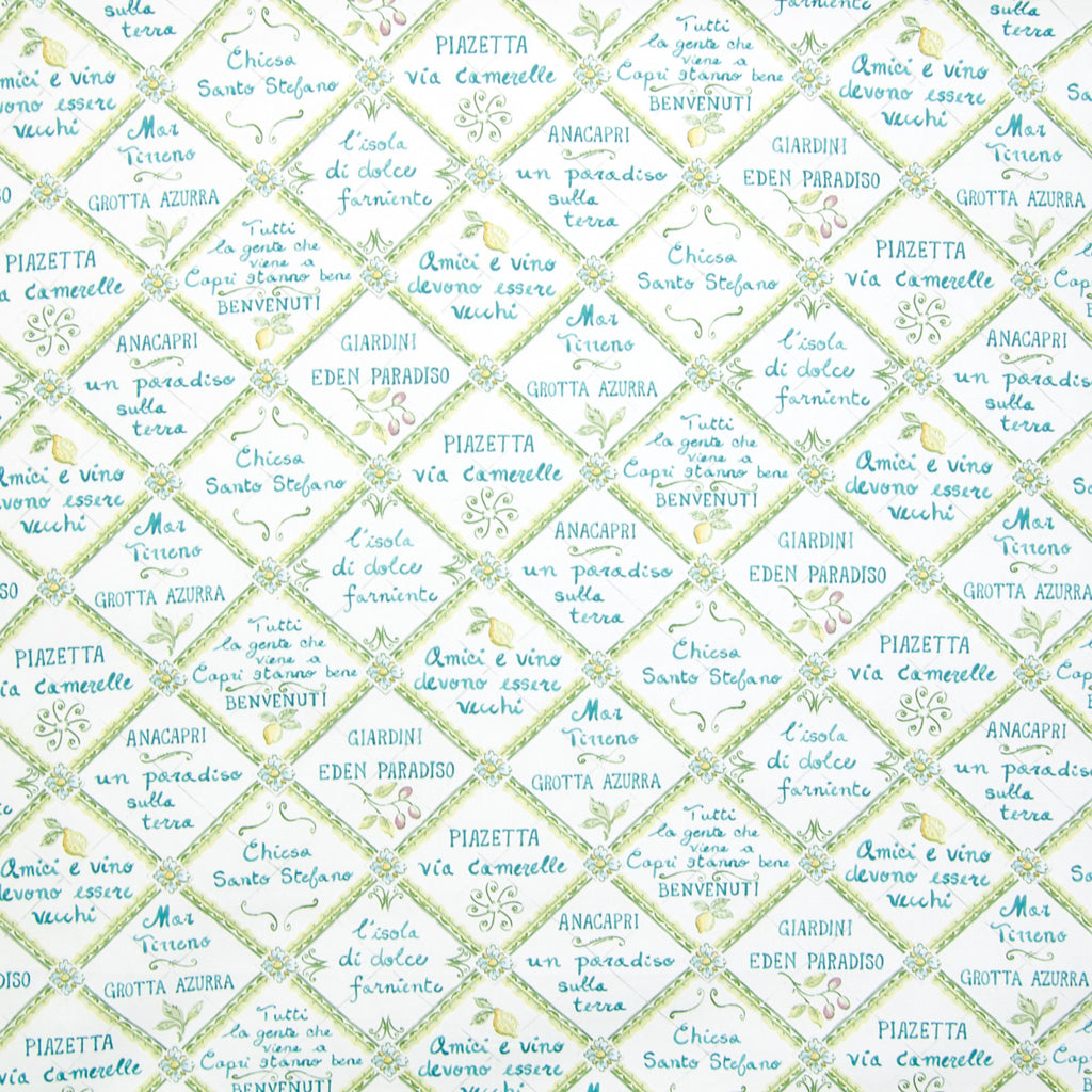 Soleil Green Teal Blue Diamond Geometric Novelty Print Made in Upholstery Fabric