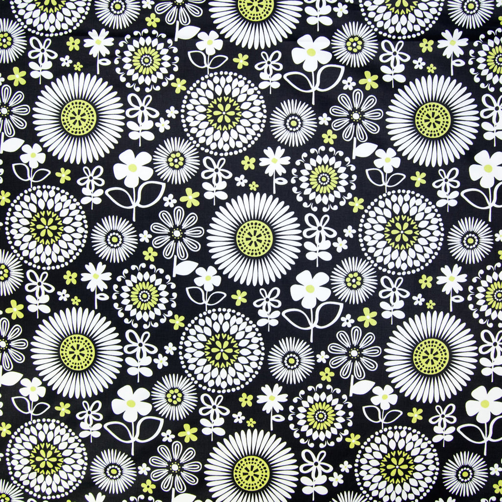Domino Black Floral Suzani Juvenile Print Cotton Upholstery Fabric