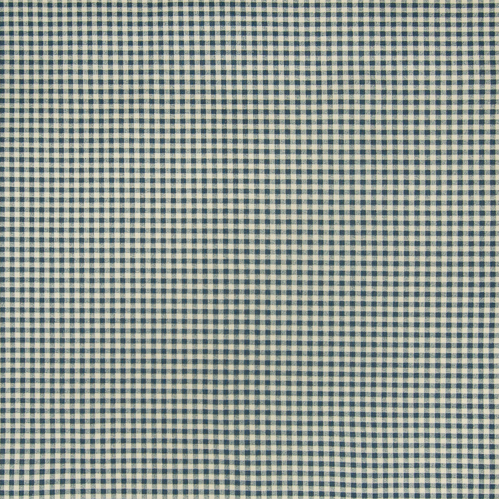 Chambray Blue Check Houndstooth Cotton Print Made in USA Upholstery Fabric