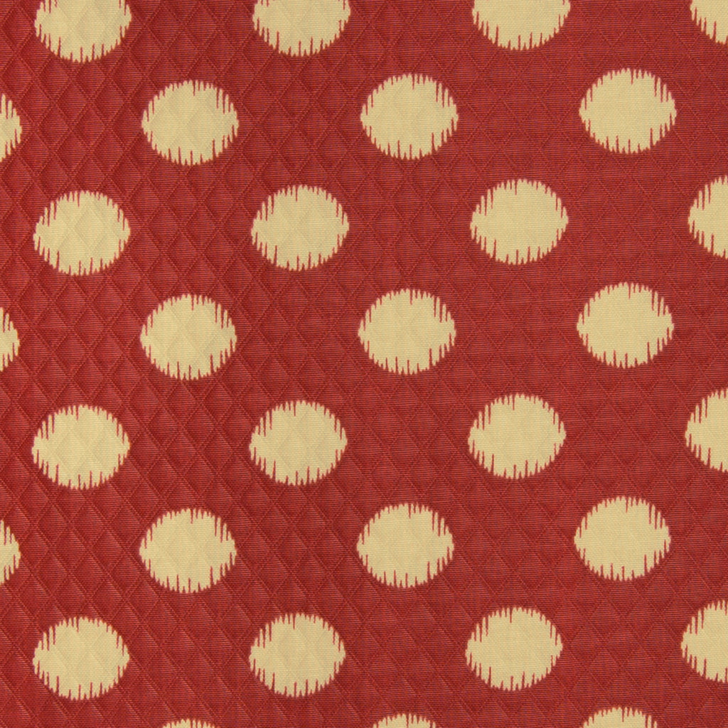 Henna Red Beige Ikat Contemporary Dot Outdoor Print Upholstery Fabric