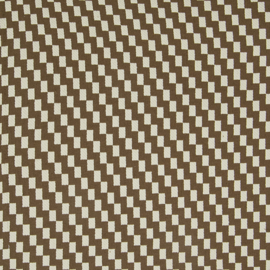 Chocolate Brown Geometric Check Houndstooth Woven Upholstery Fabric