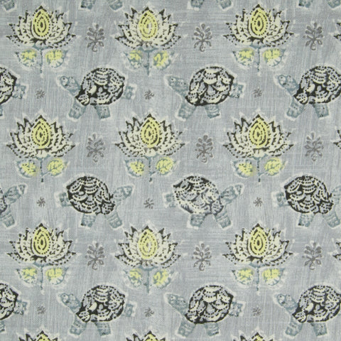 Elephant Gray Animal Floral Juvenile Print Cotton Made in USA Upholstery Fabric