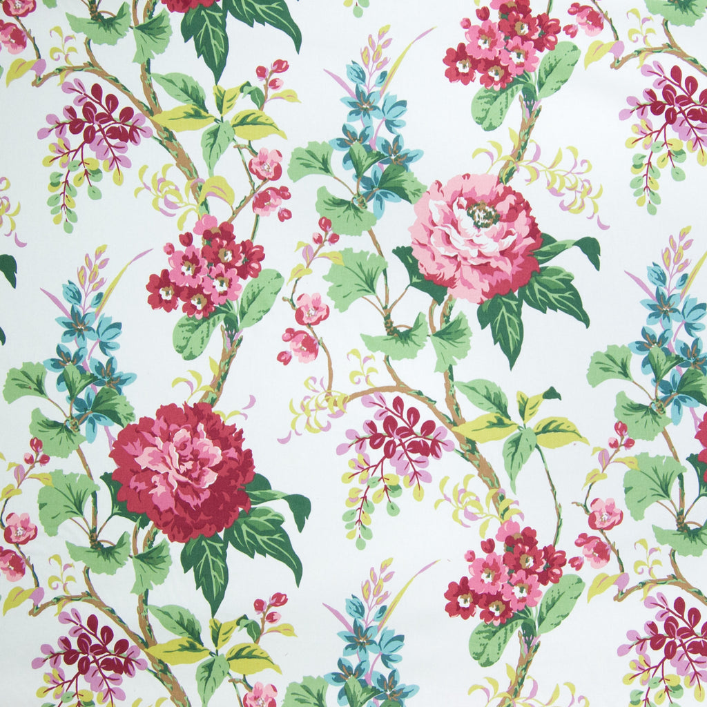 Clover Pink Red Green Floral Print Upholstery Fabric