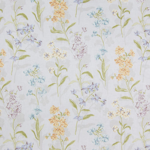 Dove Gray Floral Print Upholstery Fabric