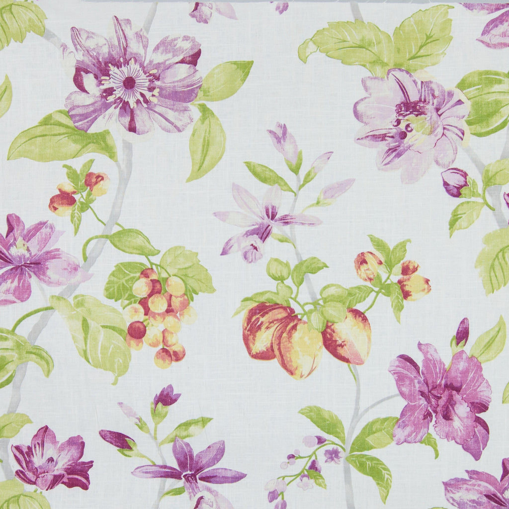 Raspberry Purple Floral Print Made in USA Upholstery Fabric