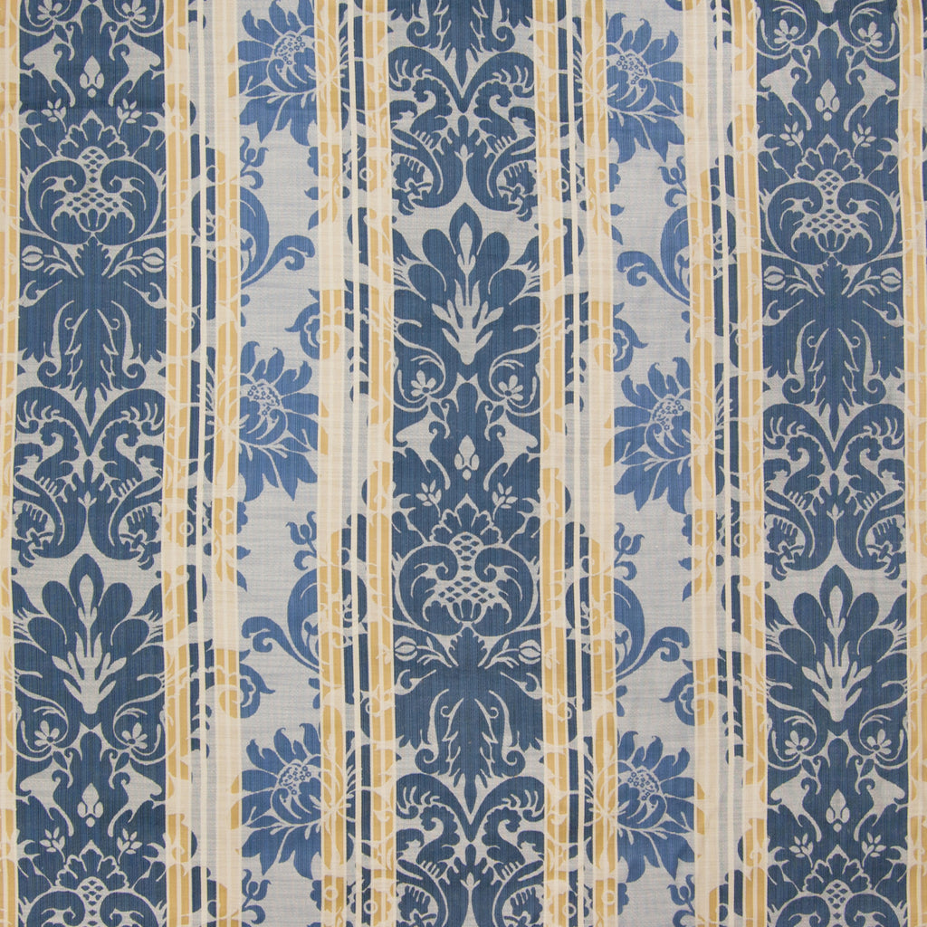 Lakeland Blue Floral Stripe Damask Scroll Jacquard Upholstery Fabric