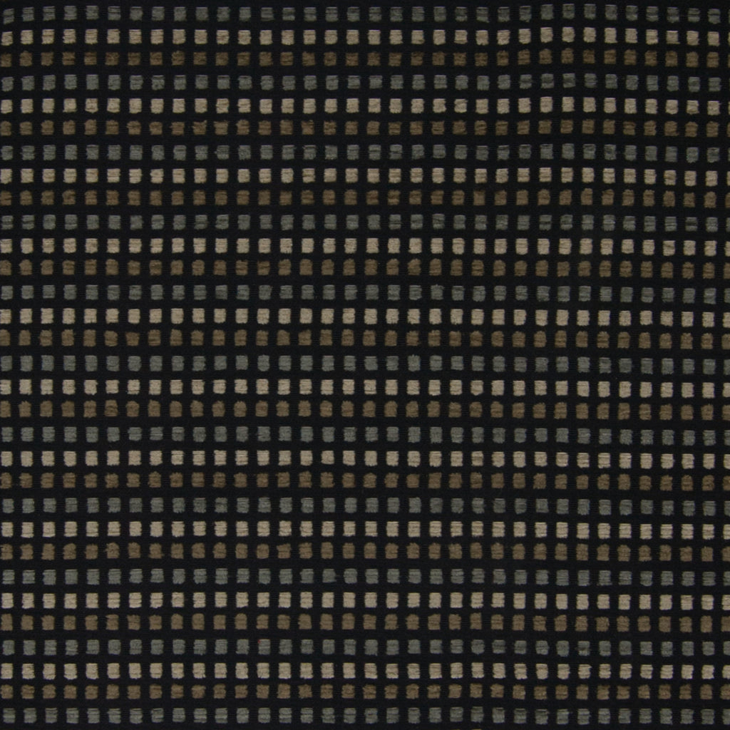 Night Black Check Houndstooth Dot Woven Chenille Upholstery Fabric