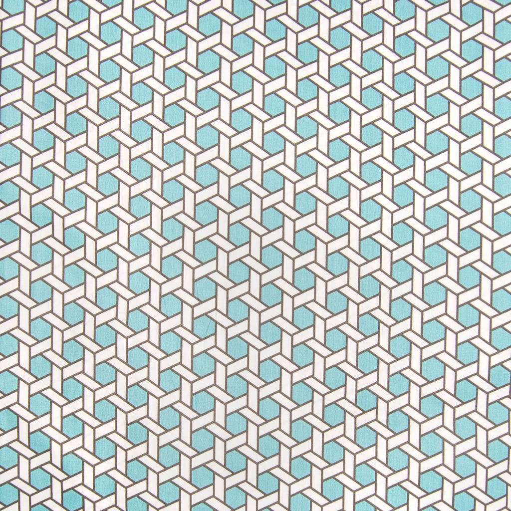 Pool Teal Blue Geometric Lattice Chintz Print Made in USA Cott Upholstery Fabric