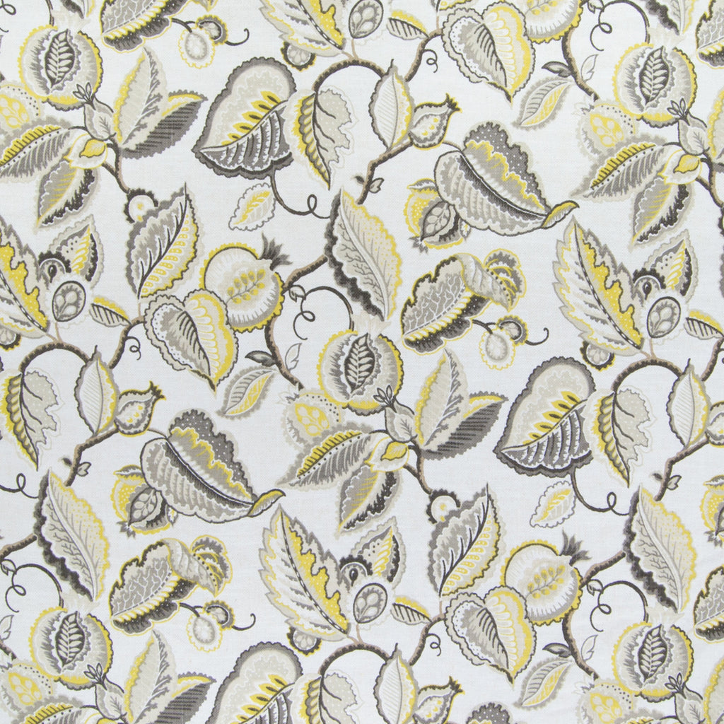 Pumice Yellow Gray Foliage Print Made in USA Upholstery Fabric