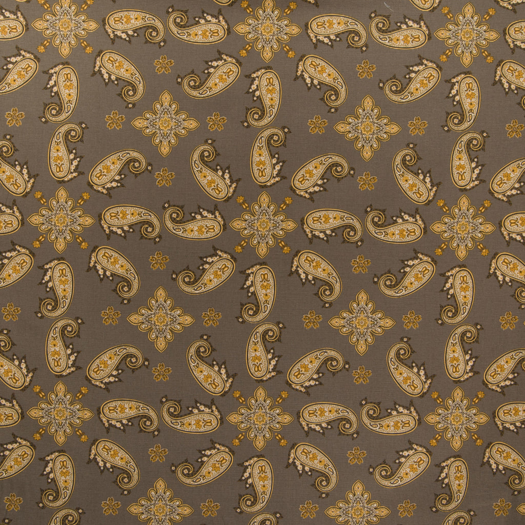 Onyx Gray Yellow Paisley Floral Print Cotton Upholstery Fabric