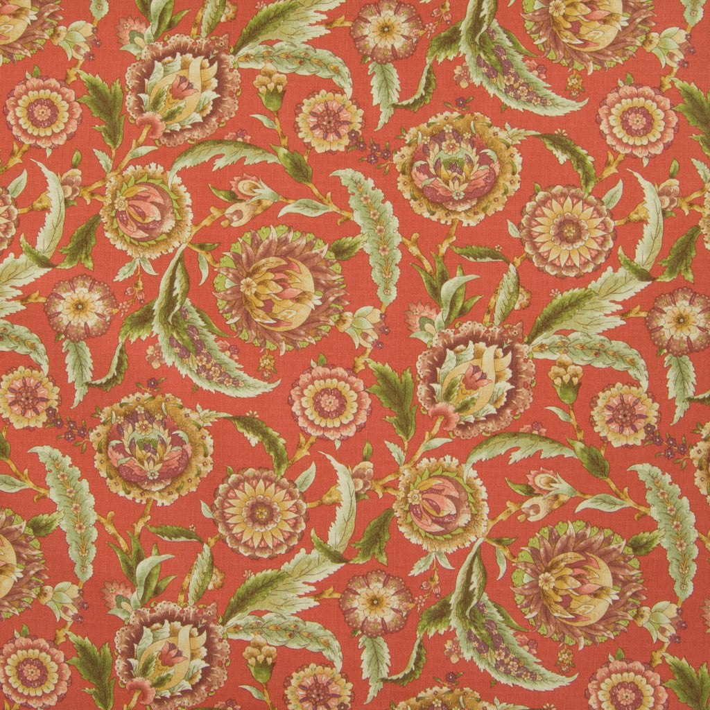 Clay Red Floral Foliage Print Cotton Upholstery Fabric