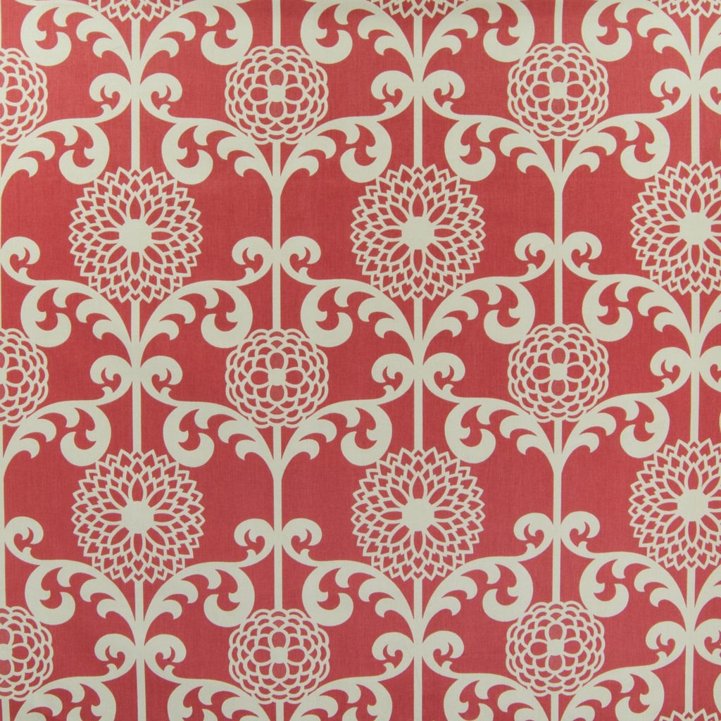 Berry Red Floral Scroll Chintz Print Made in USA Upholstery Fabric