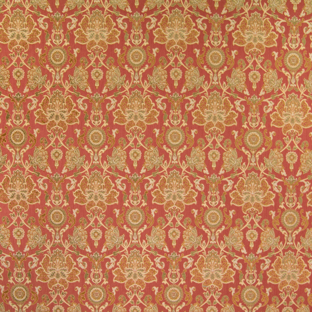 Brick Red Floral Medallion Scroll Jacquard Upholstery Fabric