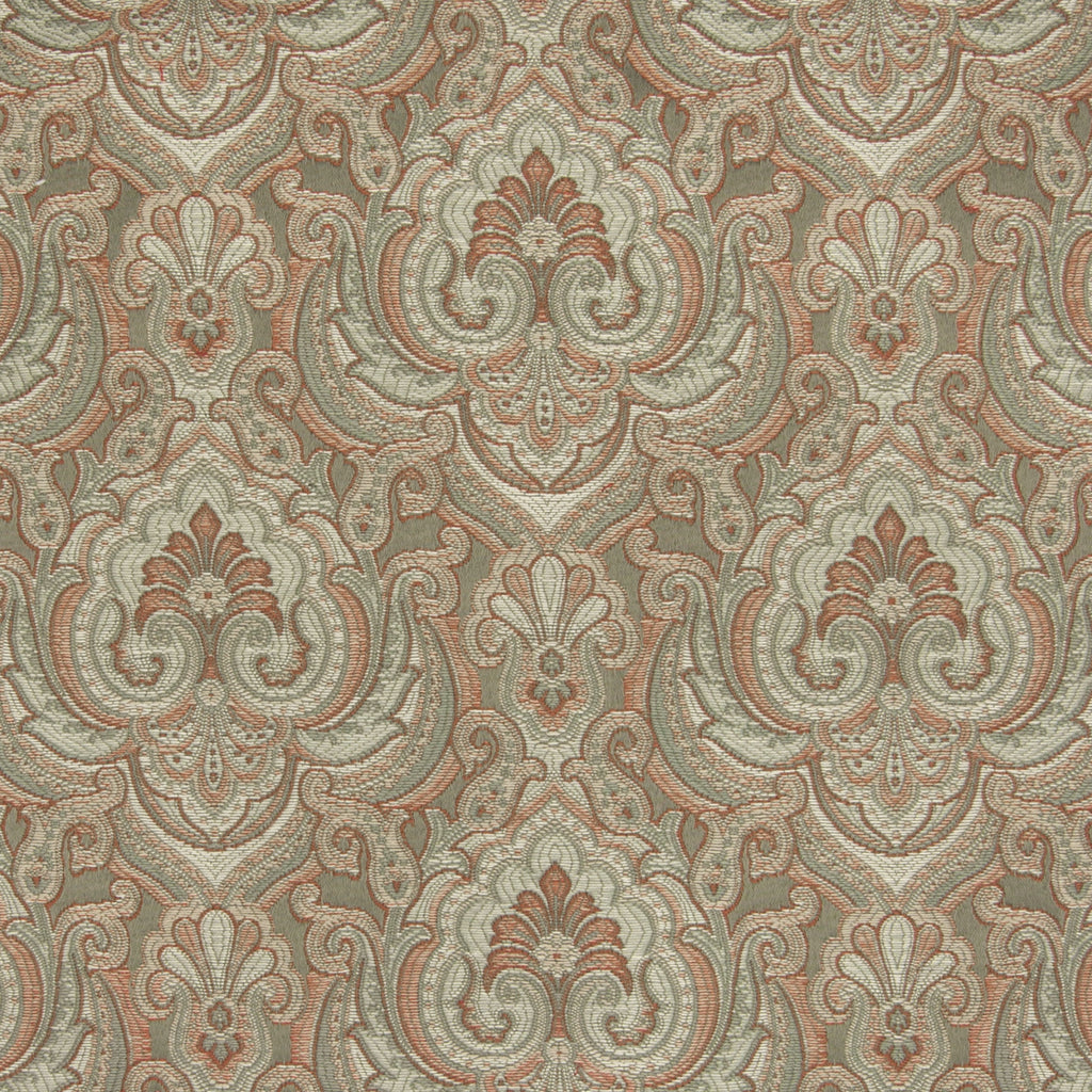 Moss Neutral Green Medallion Scroll Jacquard Upholstery Fabric