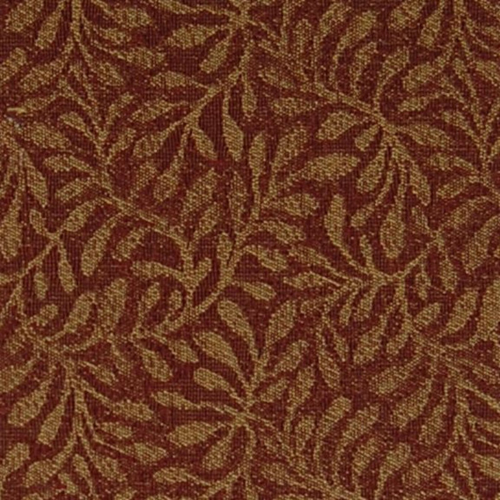 Berry Red Gold Foliage Chenille Upholstery Fabric Kovi Home Decor