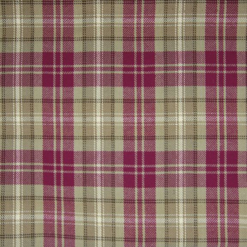 Crimson Red Purple Plaid Woven Cotton Upholstery Fabric