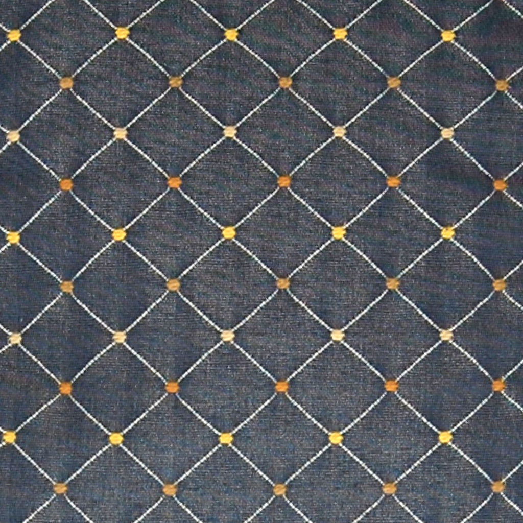 Denim Blue Orange Gold Diamond Geometric Dot  Upholstery Fabric