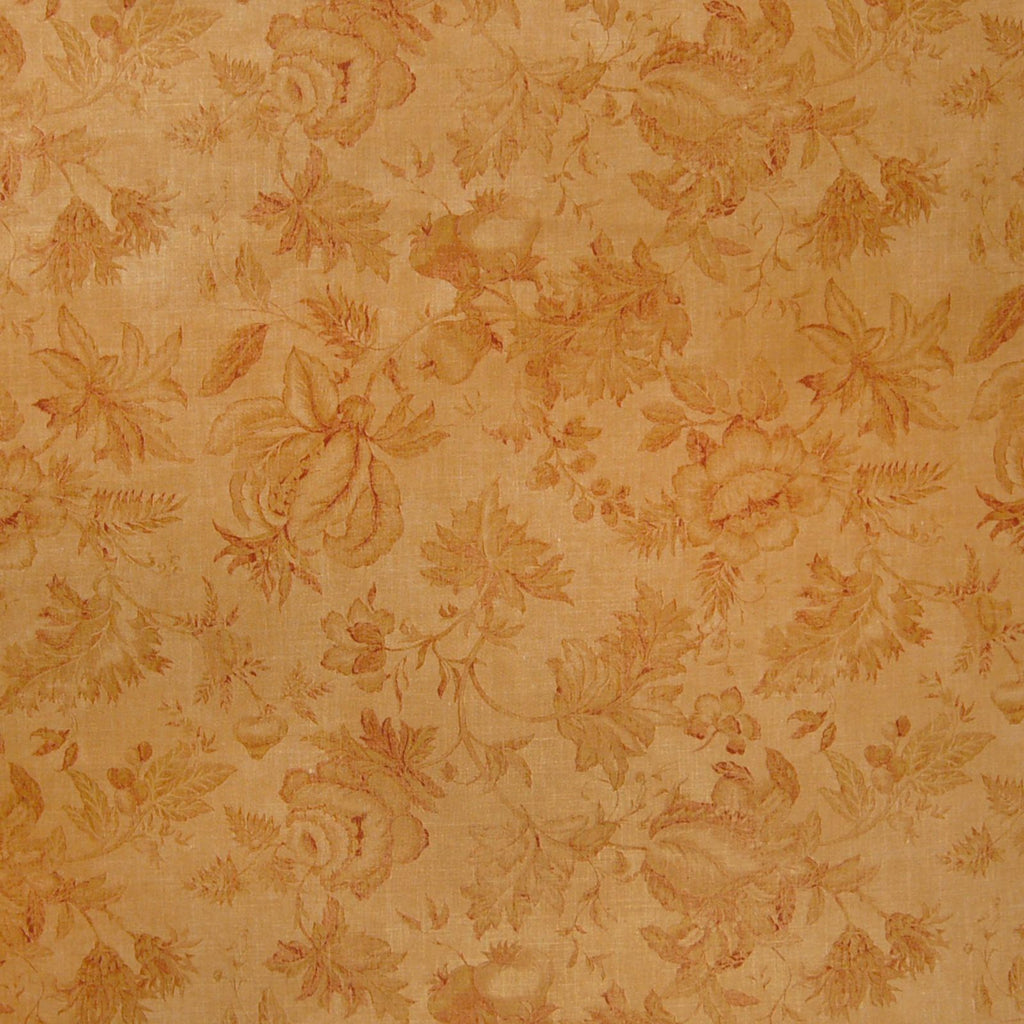 Fall Gold Orange Floral Print Linen Upholstery Fabric