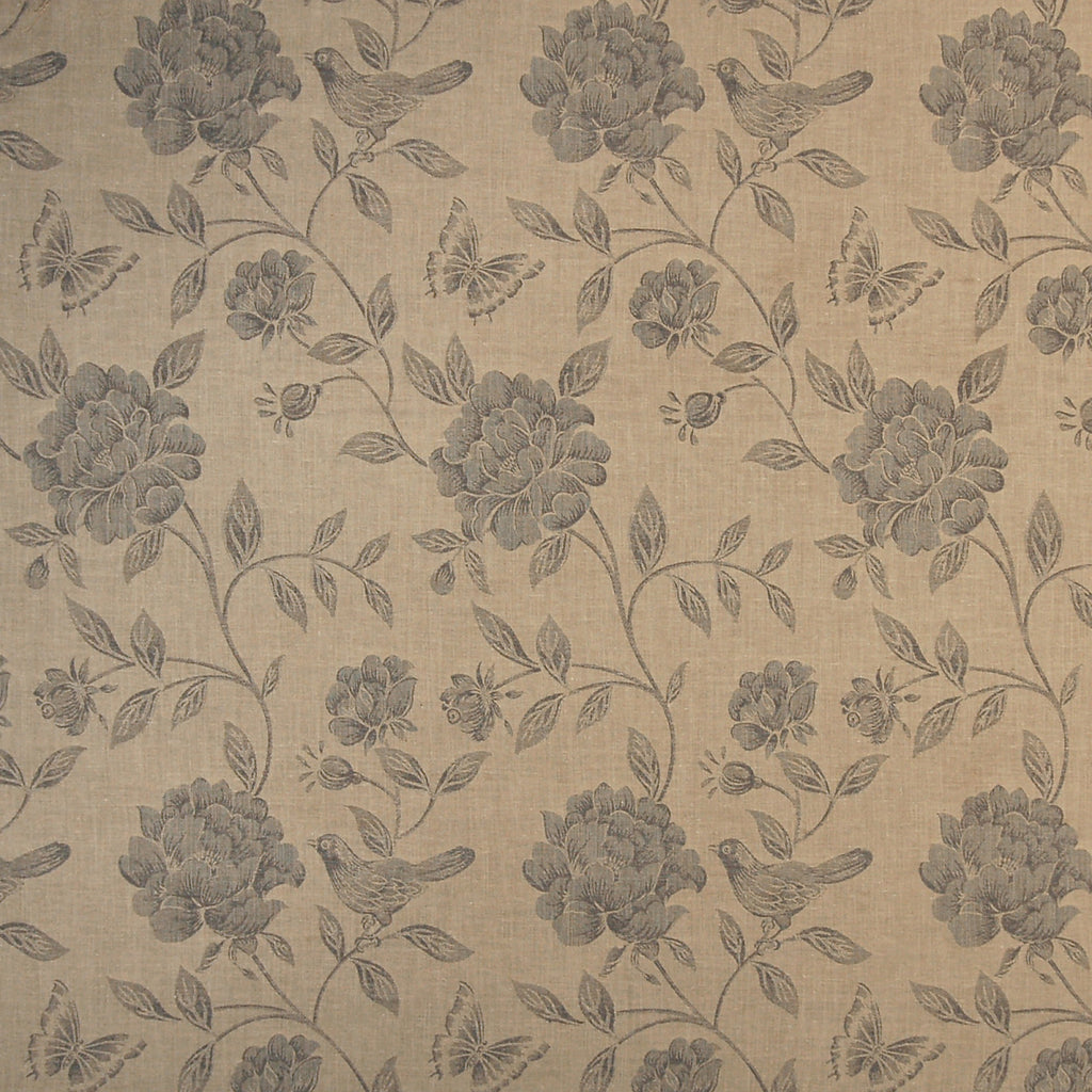 Flax Neutral Beige Gray Animal Floral Print Linen Jacquard Upholstery Fabric